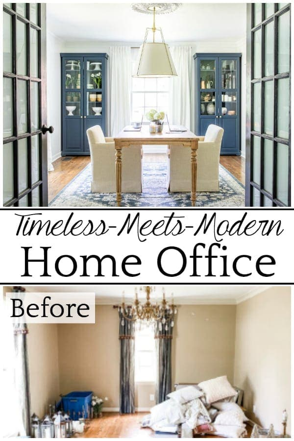 Timeless Meets Modern Home Office | An outdated dining room gets converted to a light and bright home office with a timeless new look and functional storage.