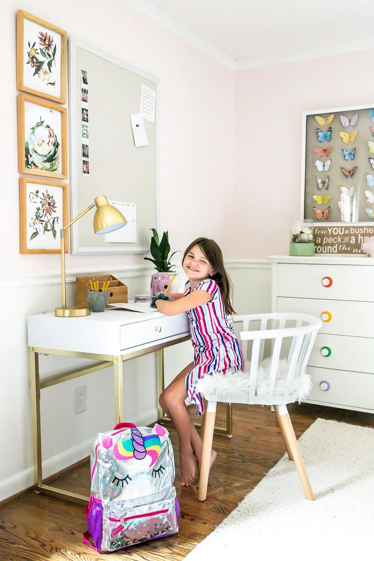 Little Girl's Homework Desk with memo board and back-to-school clothes from @Walmart #ad