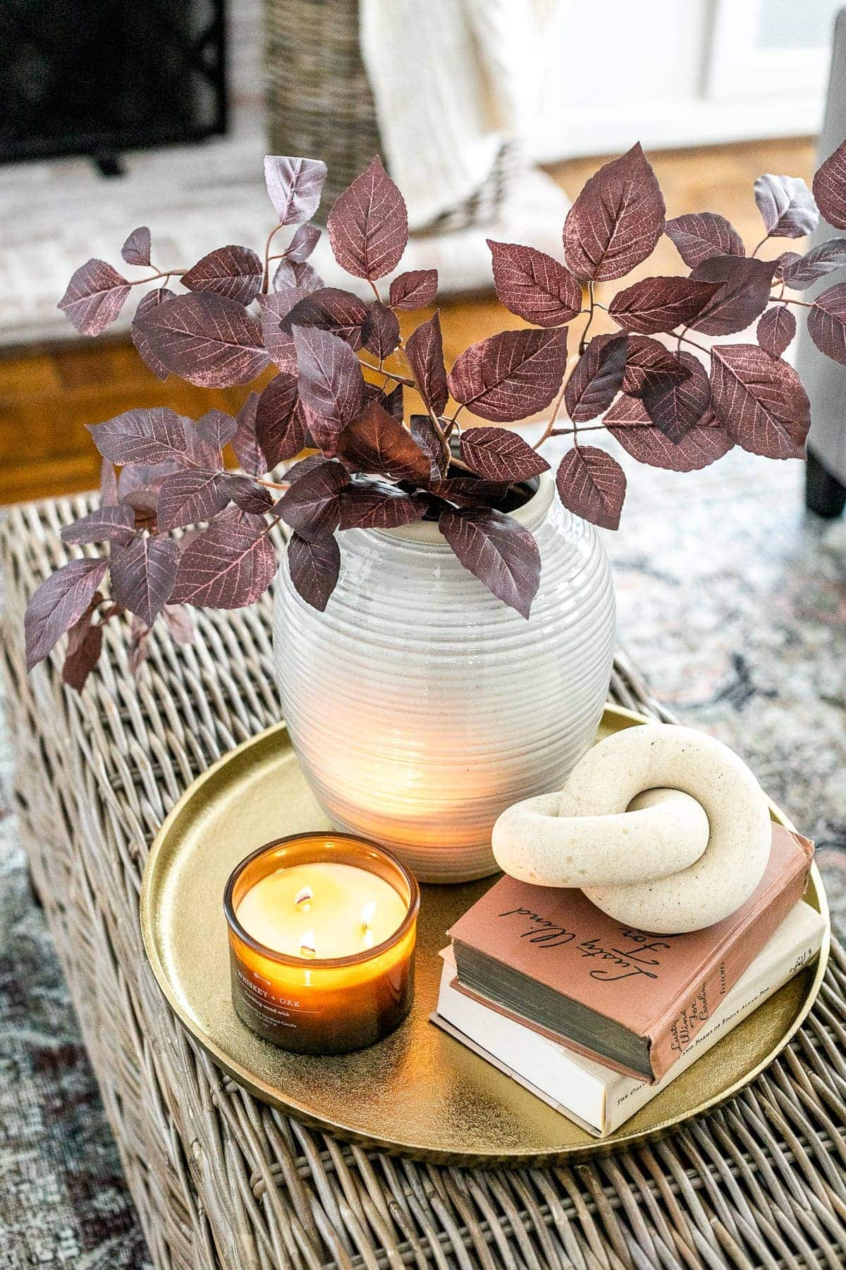 coffee table tray with fall leaves and candle