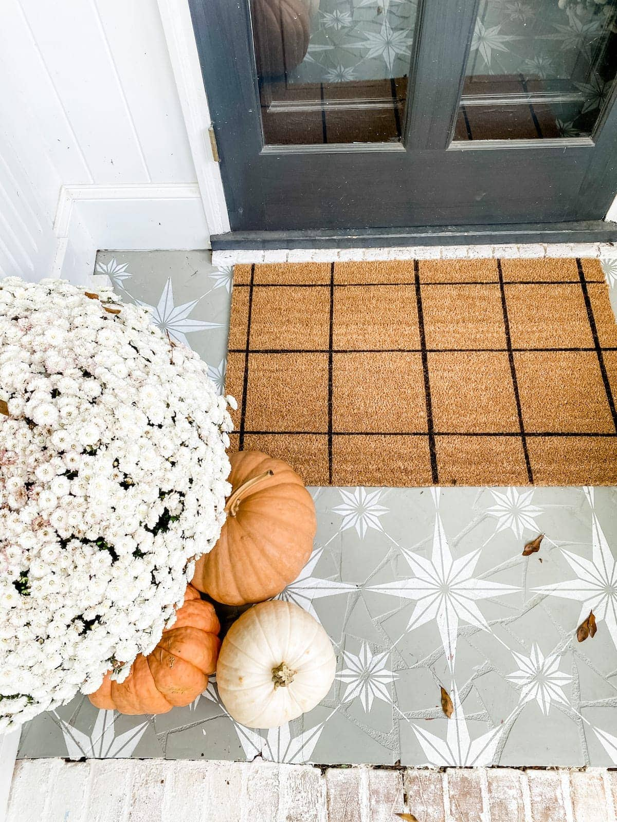 DIY Windowpane Check Welcome Mat and Stenciled Porch Floor