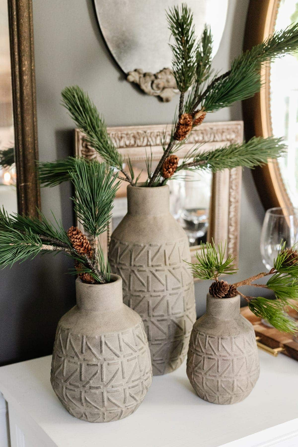 DIY painted stoneware vases