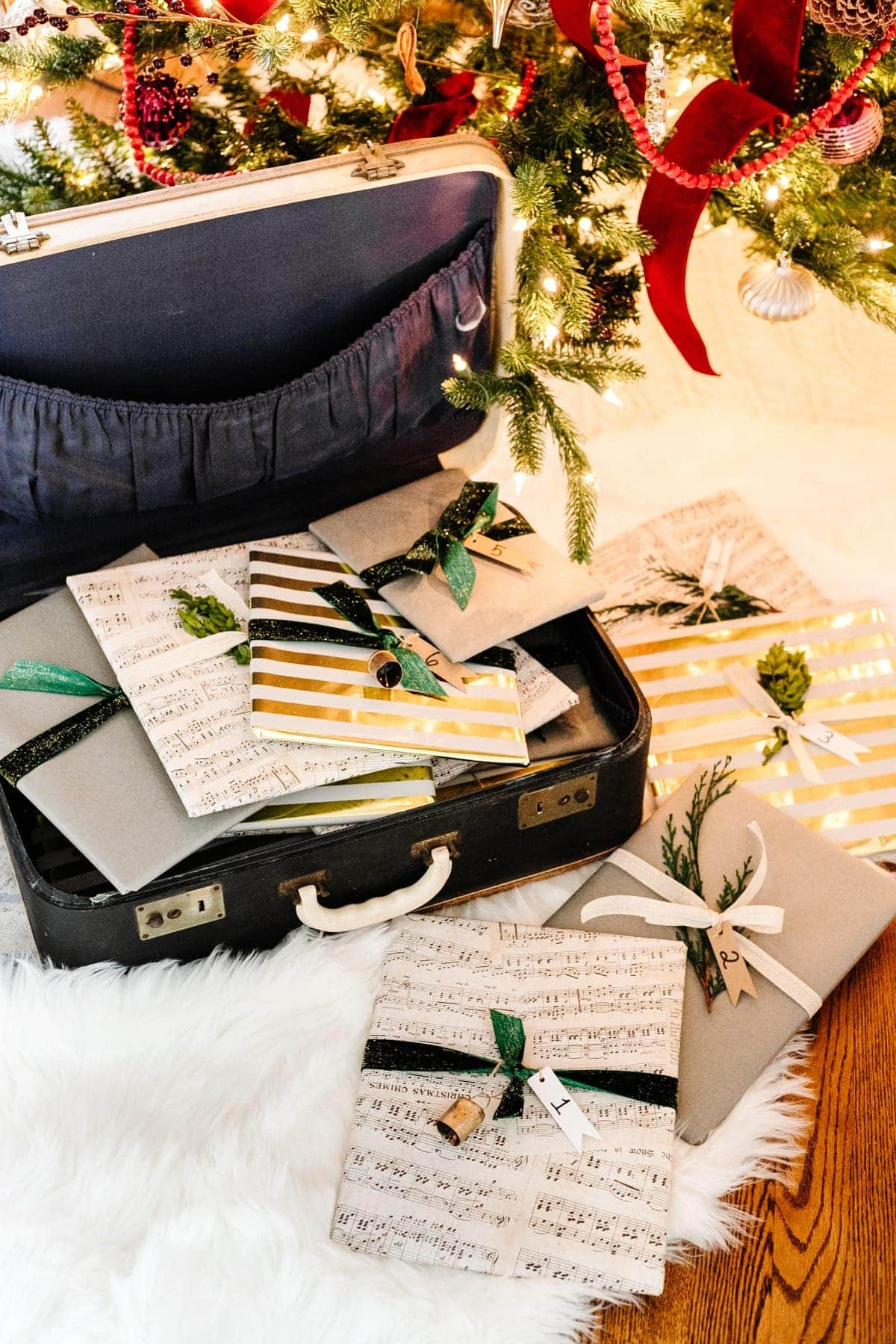 Christmas Countdown Advent Calendar - Wrap Christmas books individually with a number and keep in an old suitcase to unwrap one per night before bed.