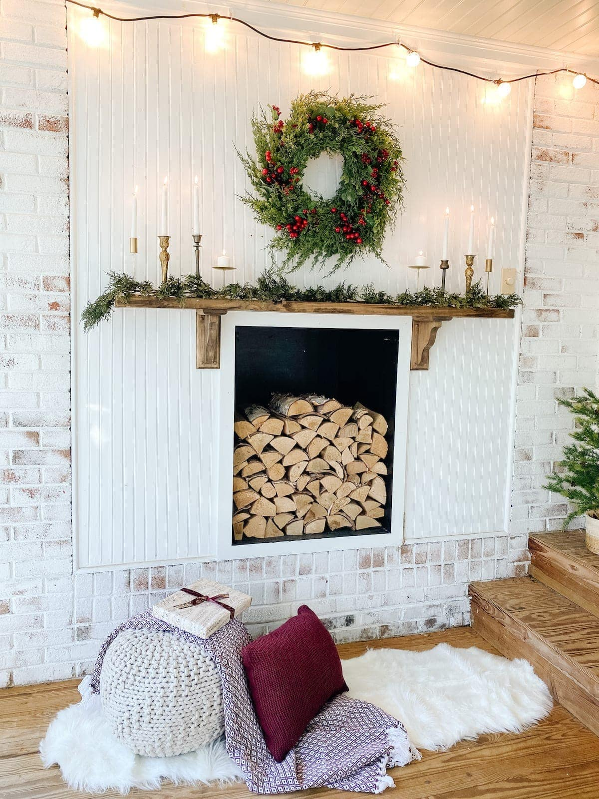 Simple Christmas Mantel Decor and Outdoor Faux Fireplace ...