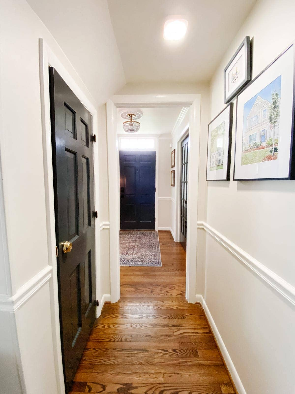 Motion sensor light in a hallway for closet access