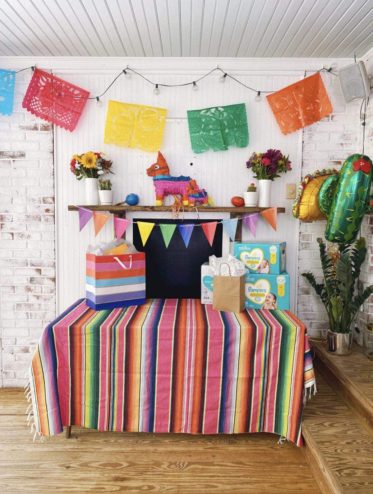 fiesta baby shower gift table