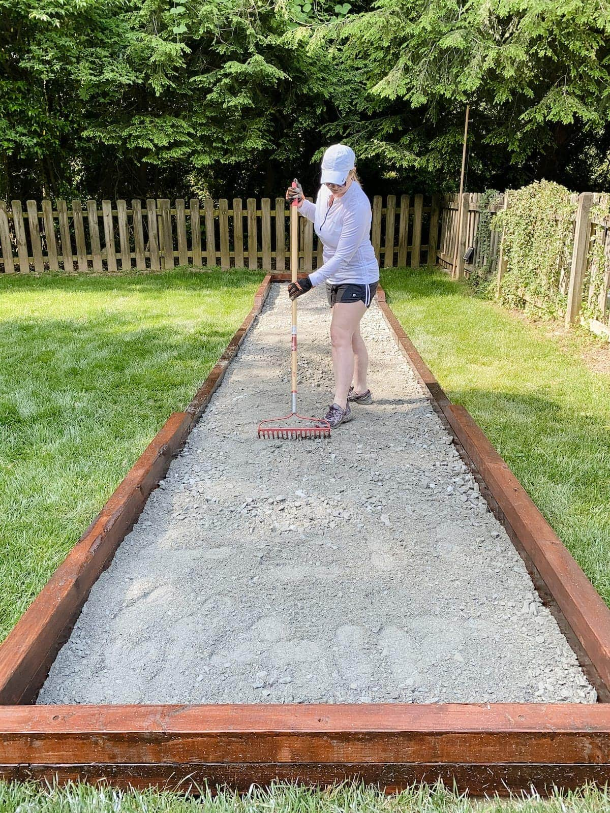 spreading paver base