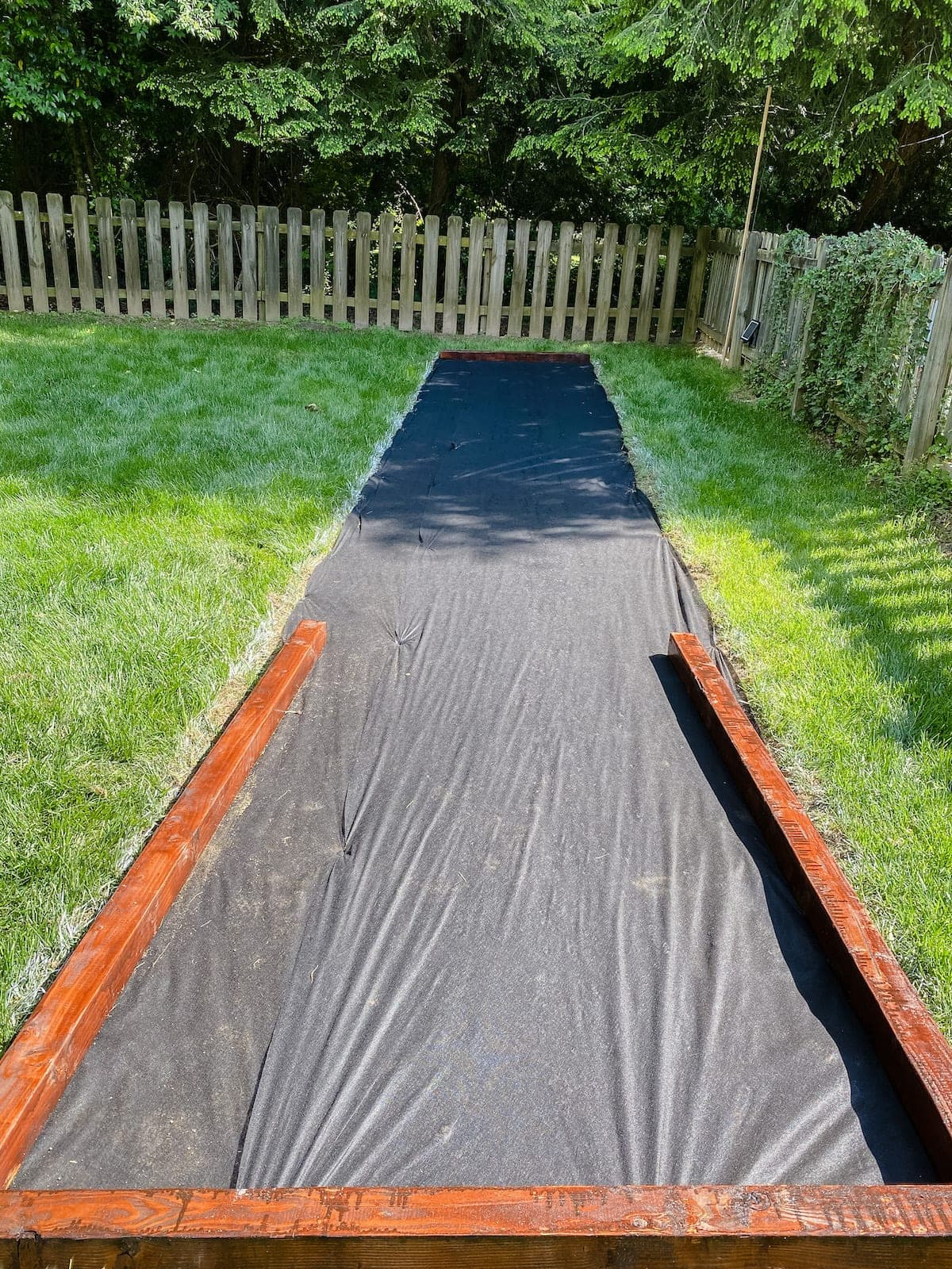 weed fabric for a bocce ball court base