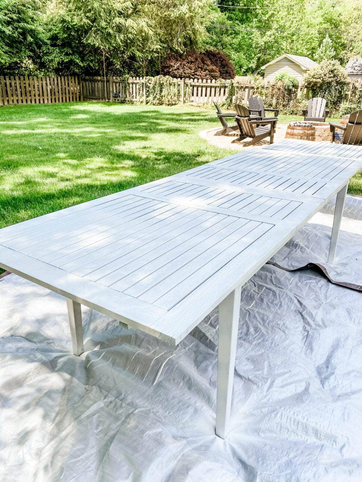 primed outdoor dining table