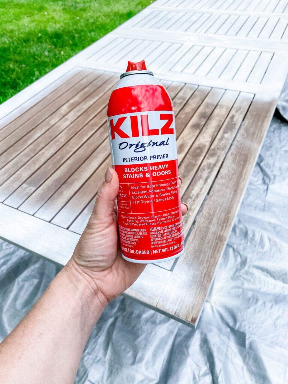 kilz original spray primer to use on outdoor furniture