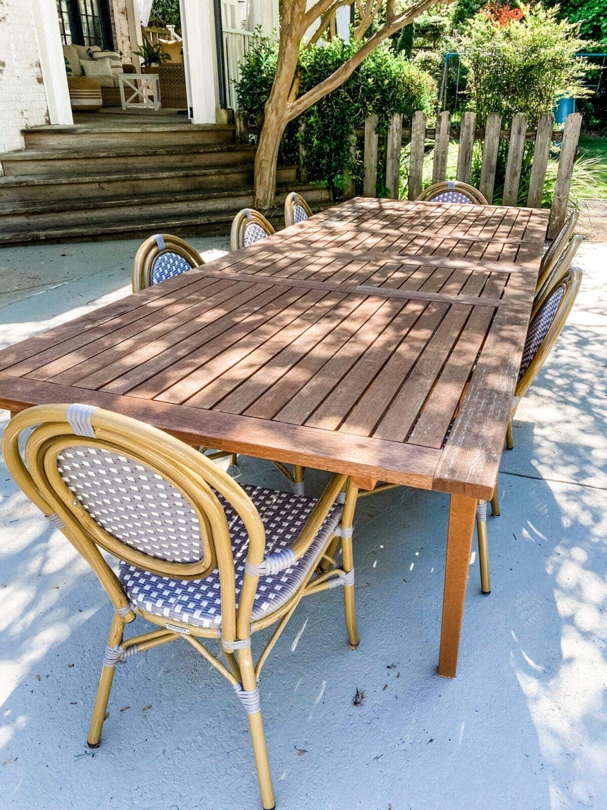 outdoor dining table with french bistro chairs