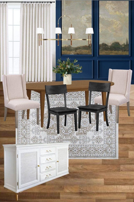 modern classic dining room mood board