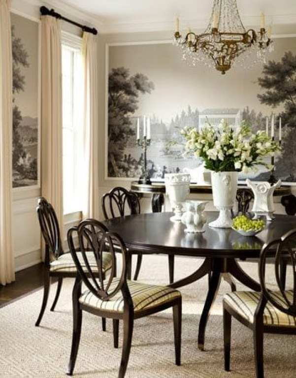 scenic mural and picture frame molding in a traditional dining room