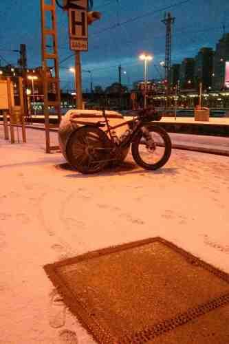 Am Hamburger Hauptbahnhof gab es noch ein wenig Schnee.
