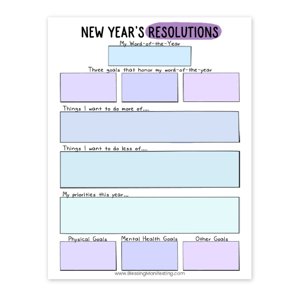 free new year's resolution worksheet