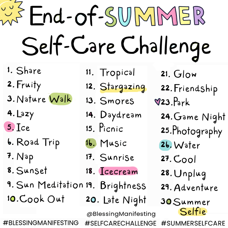 end-of-summer self-care challenge