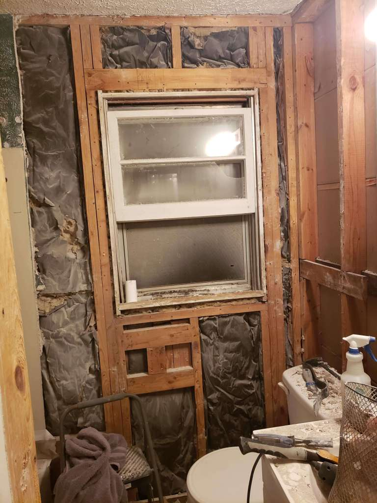 Side wall down on the bathroom renovation