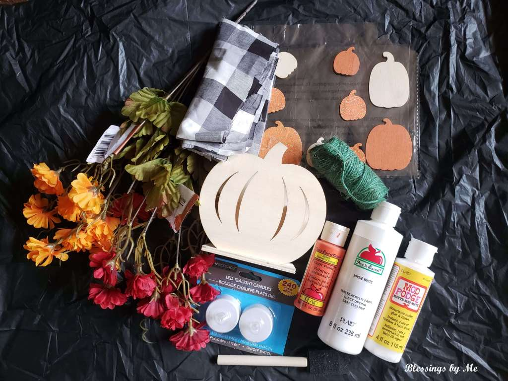 Materials needed for 2-in-1 pumpkin decor