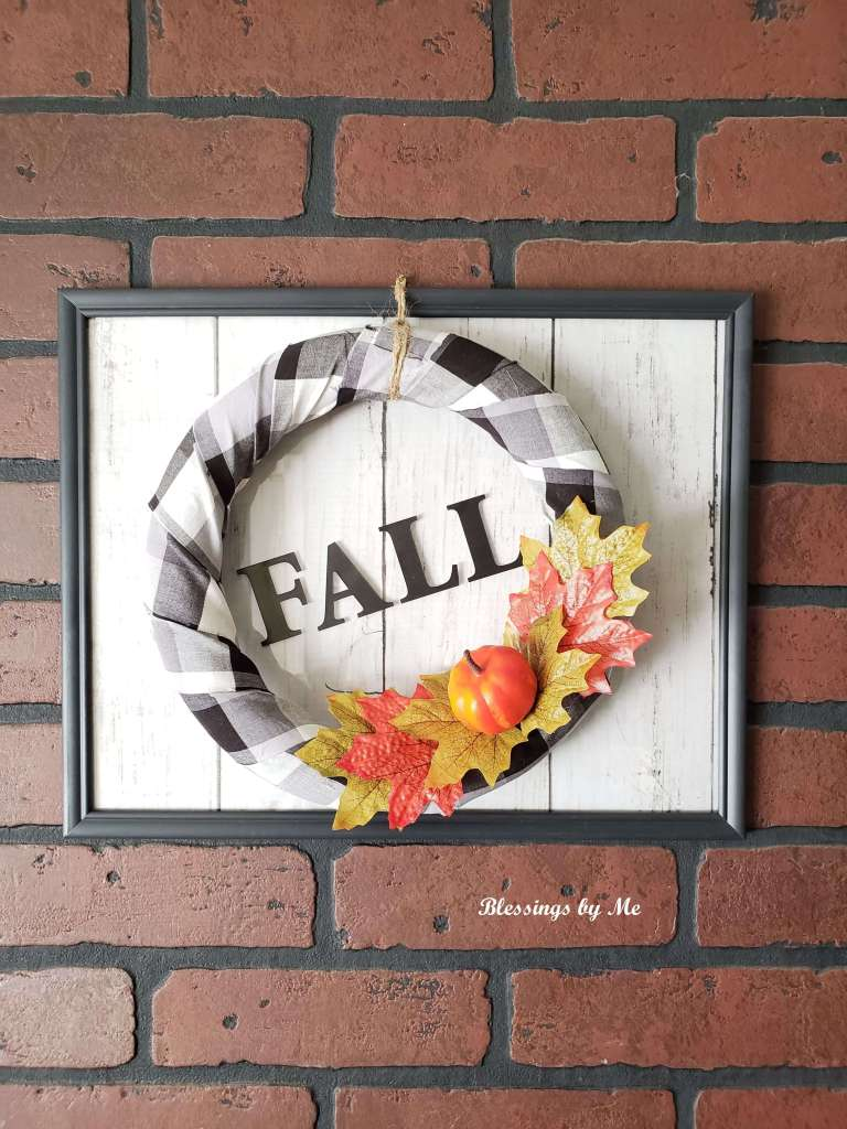 Completed fall wreath wall decor