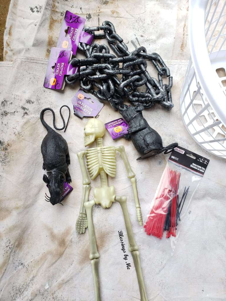 Materials needed for the creepy hanging cage Halloween DIY