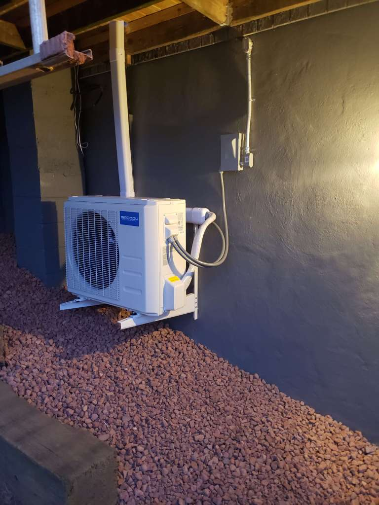 Mini split system outside