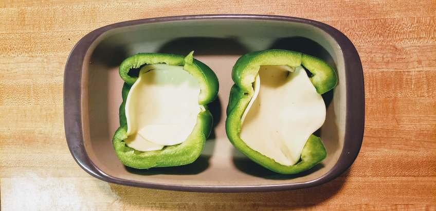 Line peppers with cheese