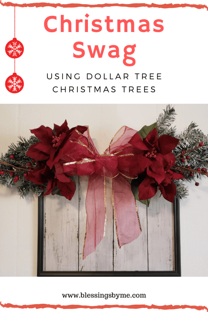 Christmas swag using 2 Dollar Tree mini Christmas Trees