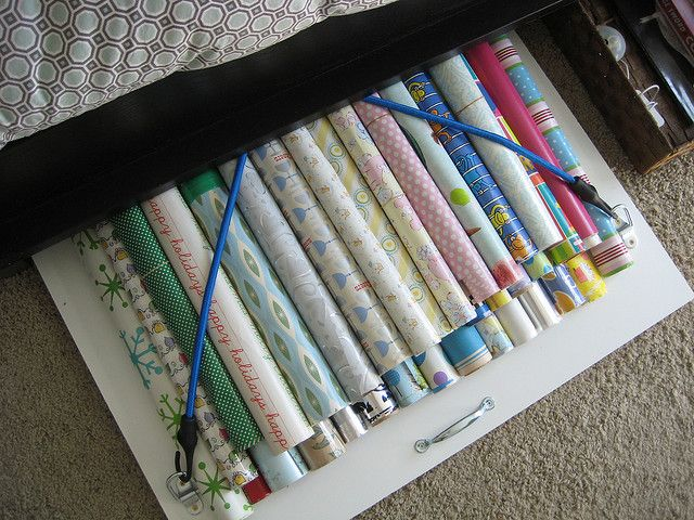 gift wrap storage under the bed