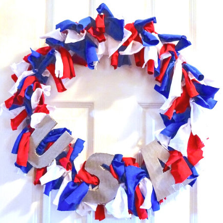 rag wreath from old t-shirts