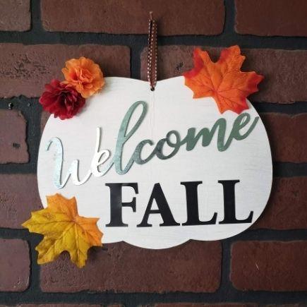 Welcome Fall Pumpkin Sign