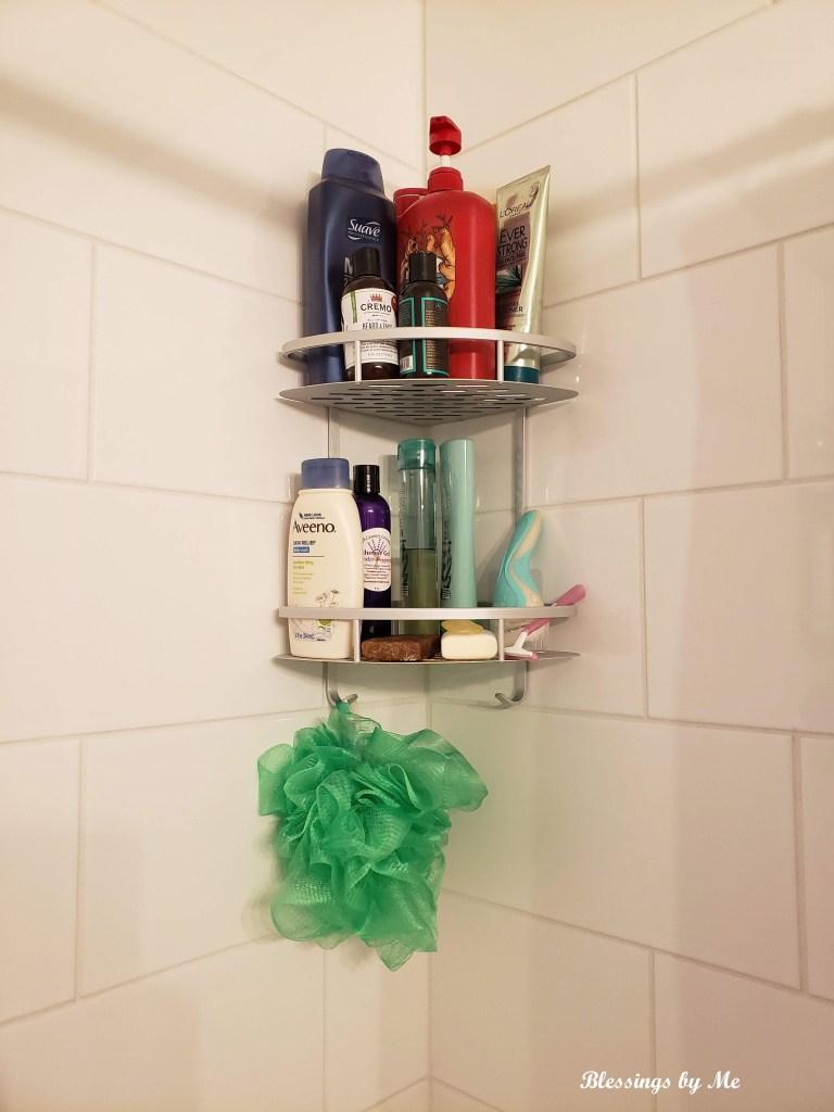 corner shelves in the shower