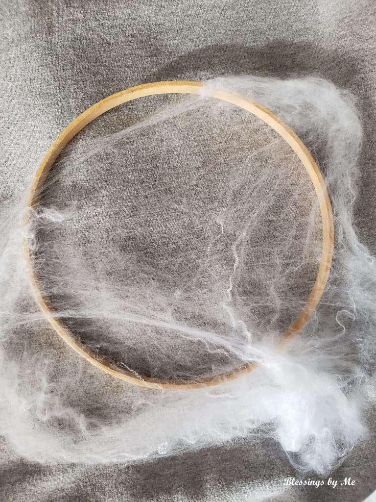 step 1 - put webbing over inside hoop