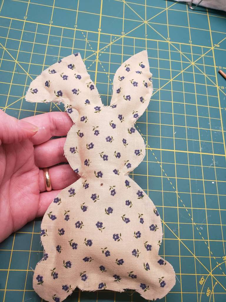 step 4 - glue and stuff the no-sew fabric bunny