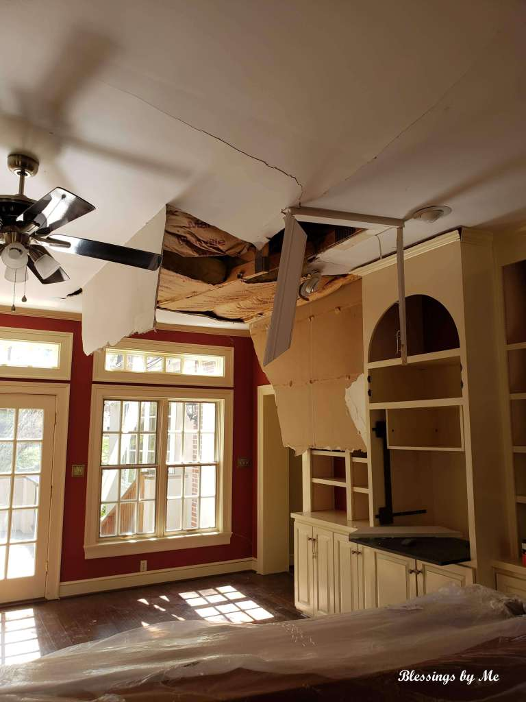 tree damage to family room ceiling