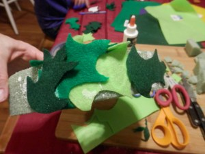 gluing felt leaves