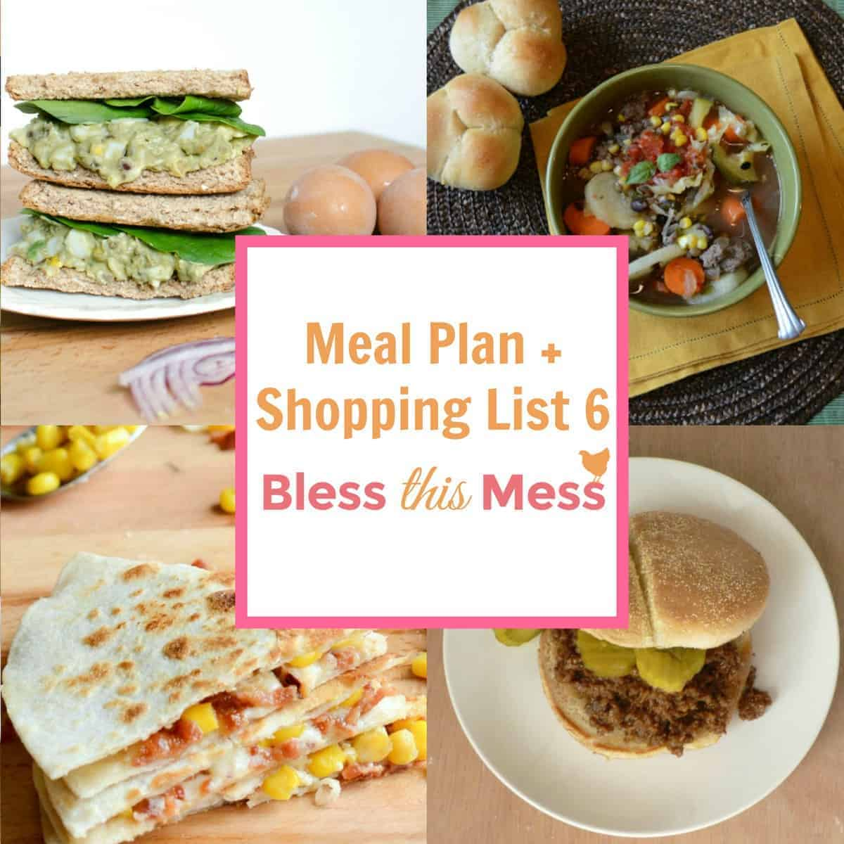 Healthy Meal Plan And Printable Shopping List Week 6