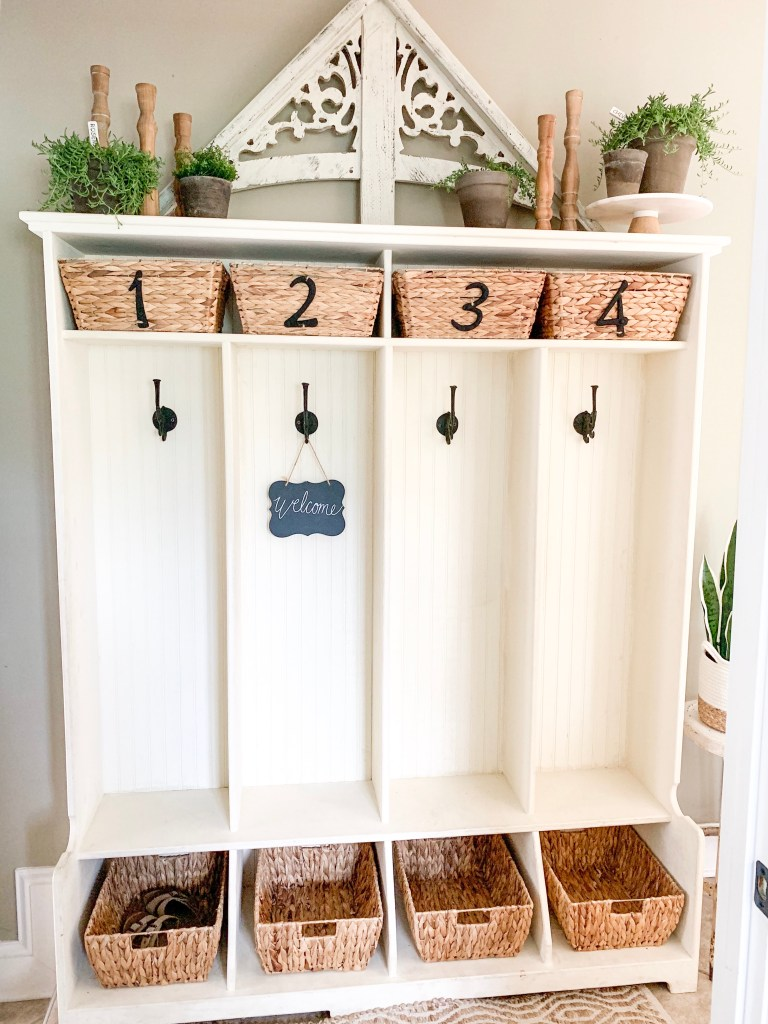 cubbies in mudroom
