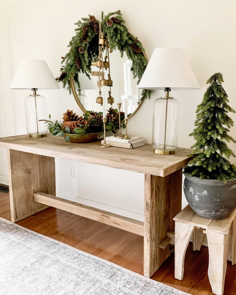 Neutral and gold Christmas entryway table