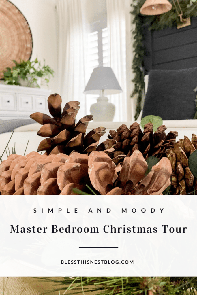 simple and moody master bedroom Christmas tour blog banner