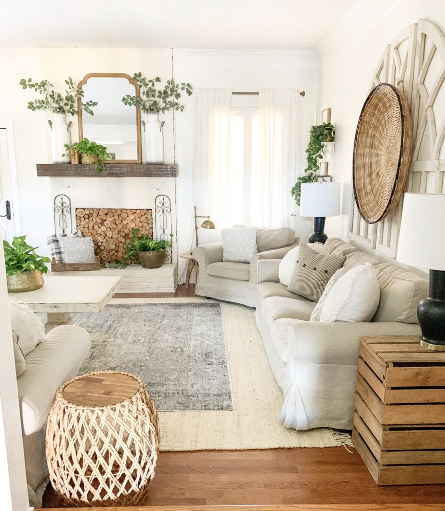 side view of living room spring refresh