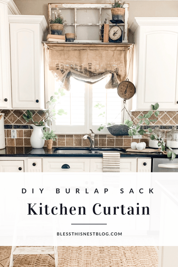 DIY burlap sack kitchen curtain blog banner