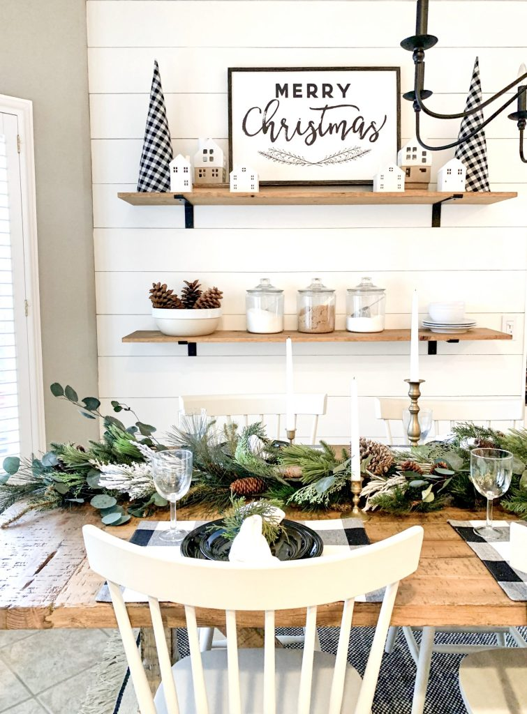 kitchen table with garland