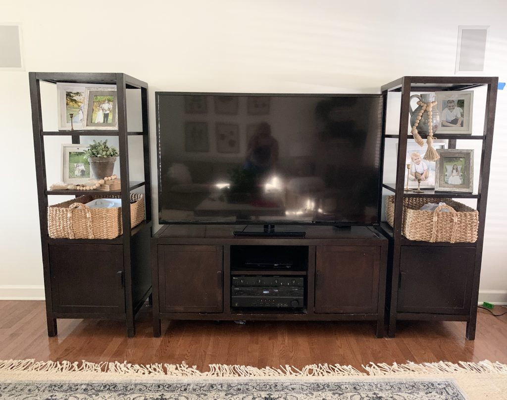 dark brown small media cabinet