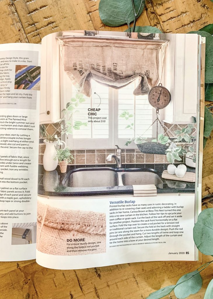 magazine page with kitchen window showing diy curtain.