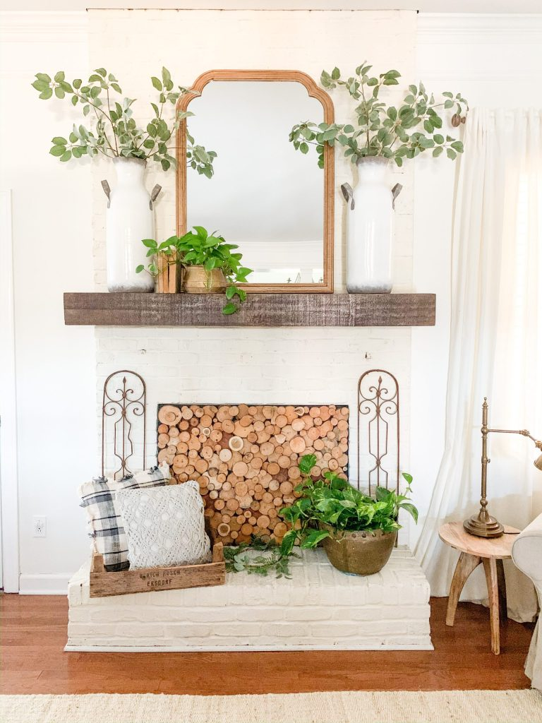 greenery decor on mantel