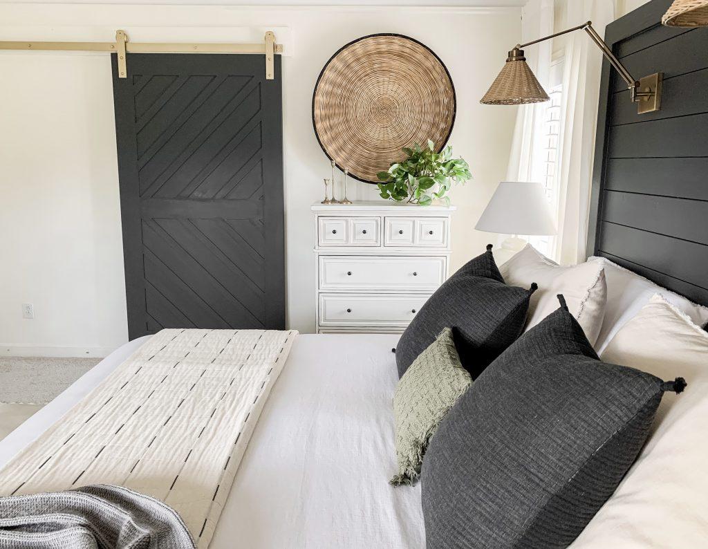 bedroom side view of barn door