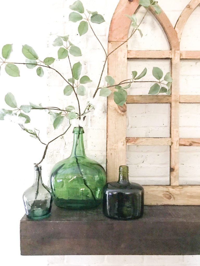 green bottles, spring floral, minimalist home decor