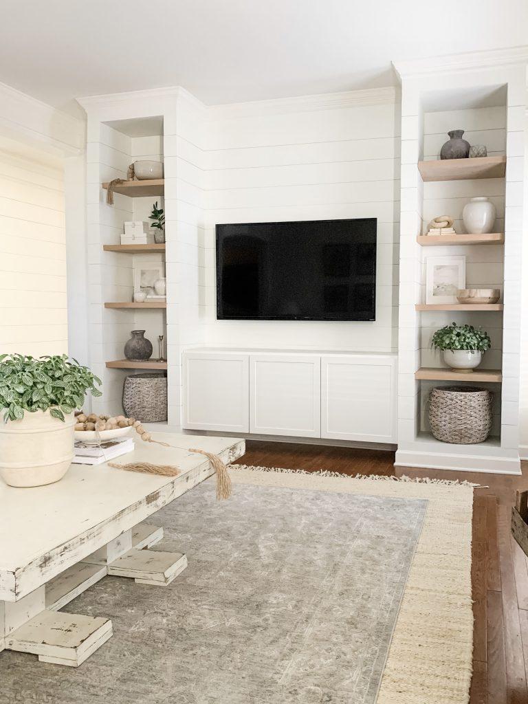 side view of shelves in living room