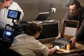 Series 1 filming with an Enigma machine in shot at Bletchley Park