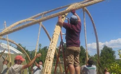 Installation du faisceau de cannes pour consolider les arches