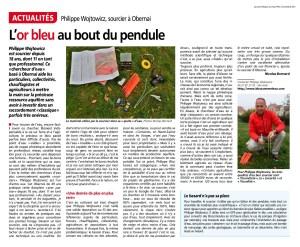 article de presse sur les stages de sourcier de qualité, proposé par Philippe Wojtowicz dans la région du pays de Saint-Odile 67, près d'Obernai